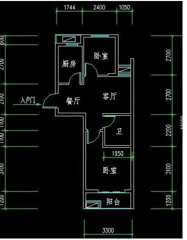 求60平方小戶型房子的裝修平面圖!2室一廳的!有的發!