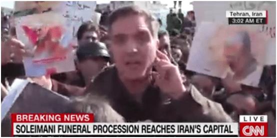 美军航母逼近伊朗 德黑兰民众上街悼念苏莱曼尼
