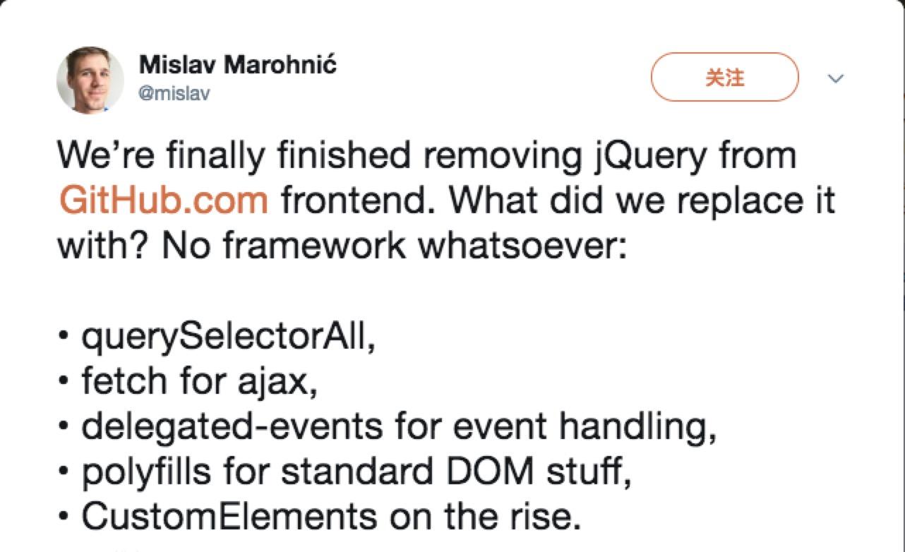 Github removing jQuery