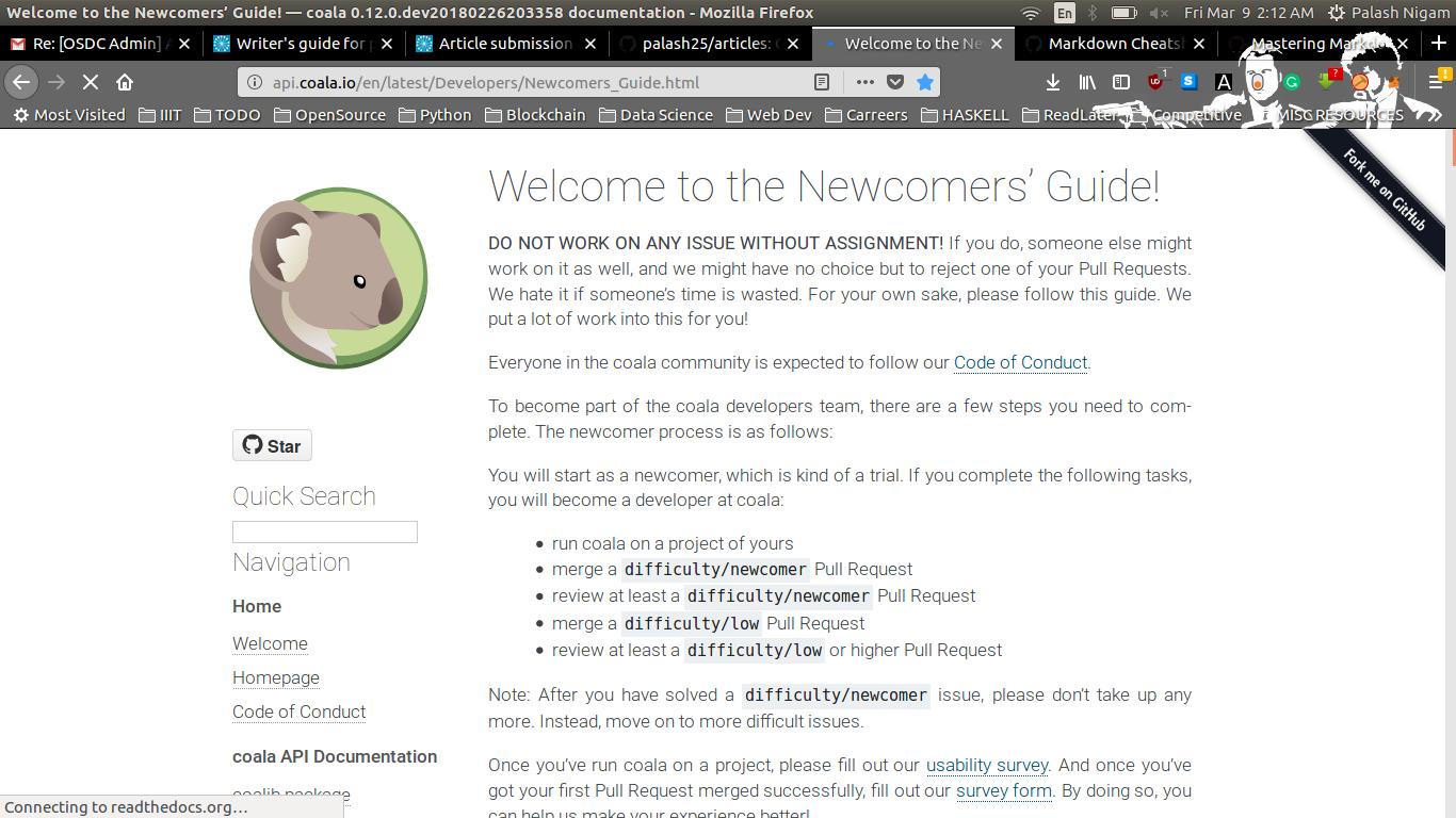 Coala Newcomers' Guide screen