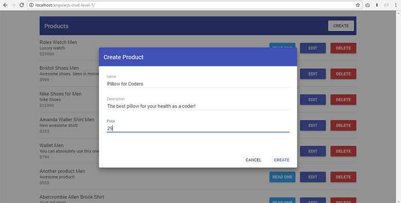 AngularJS CRUD Example with Material Design – Step by Step