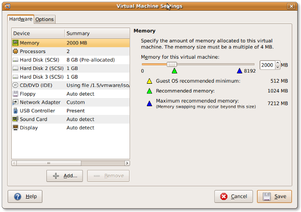 Fig.01:Vmware Virtual Machine Settings