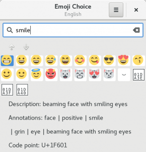 Searching for smile emoji