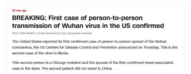 泰国总理视察疫情防控后发烧 美国首现人传人病例