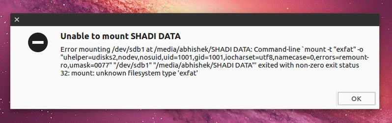 Fix exfat drive mount error on Ubuntu Linux