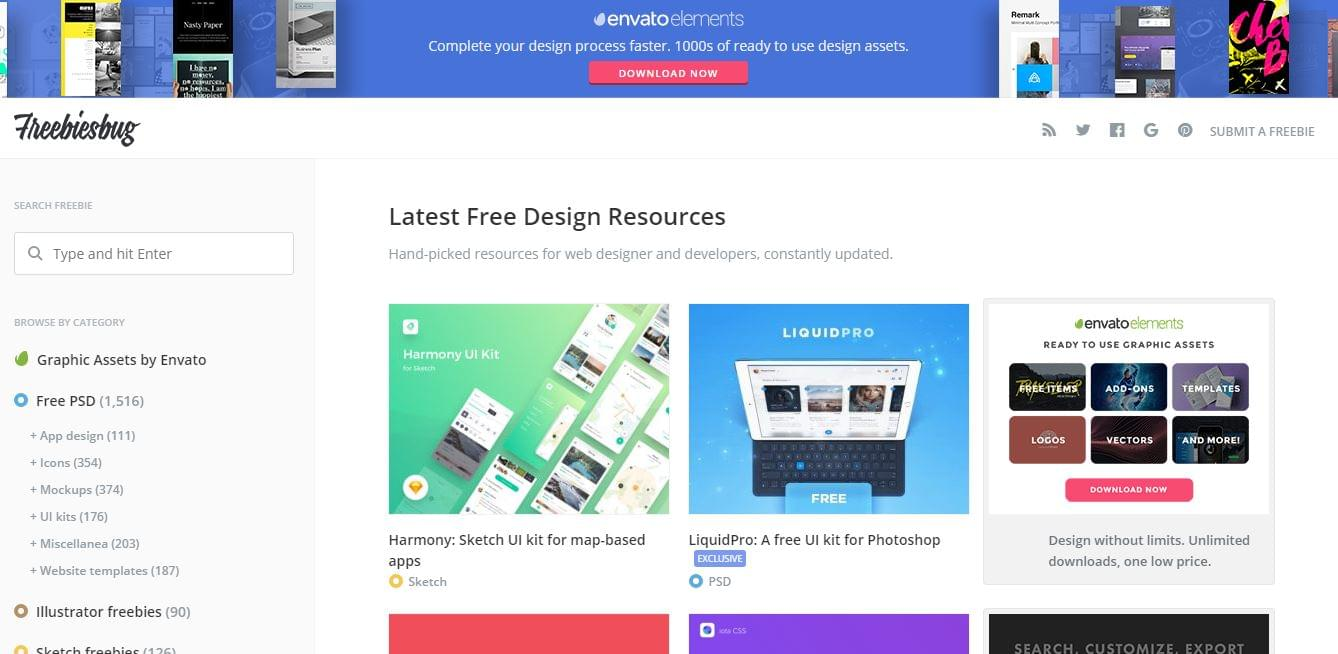 Freebiesbug - free design tools and resources