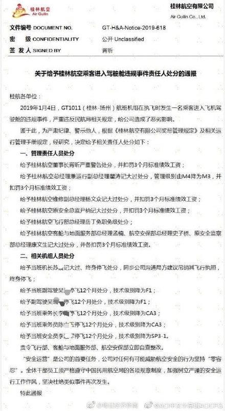 桂林航空公布处罚结果:8人受罚6人停飞,涉事机长或被吊销执照