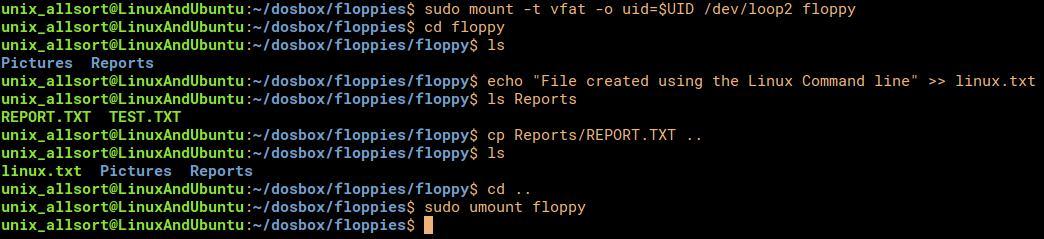 mount dosbox image in linux