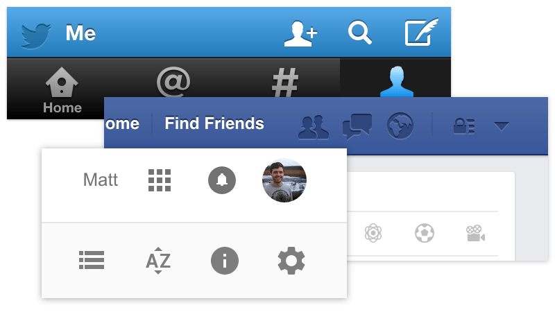 Examples of Facebook, Twitter and Google Drive icon usage