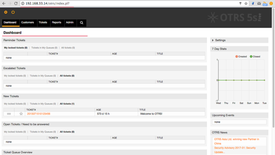 OTRS Admin Dashboard Without Error Messages