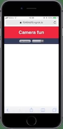 网站应该有一个 'Camera fun' 的标题,一个按钮和一个空的下拉选择框