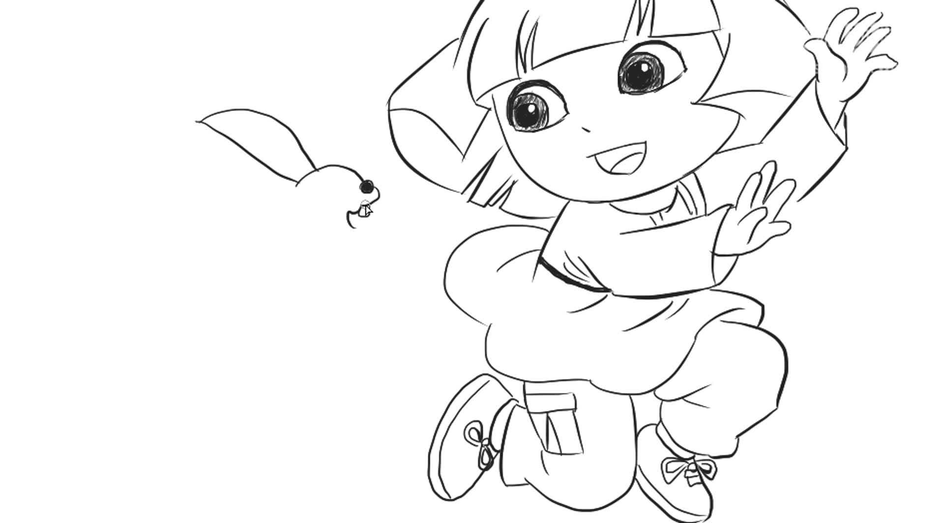[小林簡筆畫]繪畫動片《愛冒險的朵拉》中的朵拉與