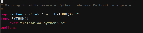 create function in vim for python